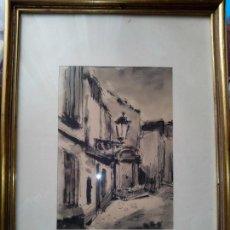 Arte: DIBUJO ORIGINAL TINTA Y ACUARELA ENMARCADO FIRMADO. Lote 105968787