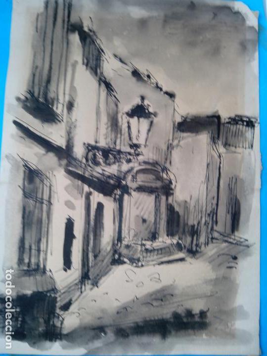 Arte: dibujo original tinta y acuarela enmarcado firmado - Foto 2 - 105968787