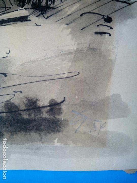 Arte: dibujo original tinta y acuarela enmarcado firmado - Foto 3 - 105968787
