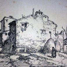 Arte: CASA DE LABRANZA. TINTA SOBRE PAPEL. FIRMADO A. CREIXAMS. ESCUELA CCATALANA. ESPAÑA. XIX-XX. Lote 105976551