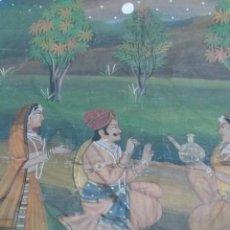Arte: PINTURA INDIA ORIGINAL SOBRE TELA 80X110 CMS. Lote 106008964