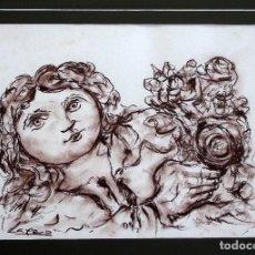 Arte: LAXEIRO. SANGUINA SOBRE CARTULINA: MUJER CON RAMO DE FLORES.. Lote 106069379