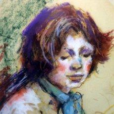 Arte: RETRATO DE MUJER JOVEN. DIBUJO. CERA(?). FIRMADO DE TORRES. ESPAÑA. XX. Lote 106176999