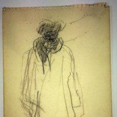 Arte: HOMBRE CON ABRIGO LARGO. DIBUJO. CARBONCILLO SOBRE PAPEL. FIRMADO. ESPAÑA. XIX-XX. Lote 106747647