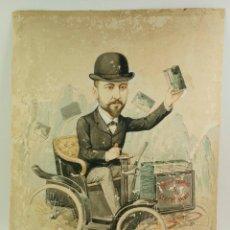 Arte: CARICATURA DEL EDITOR ANTONIO LÓPEZ. DIBUJO DE MANUEL MOLINÉ DEDICADO Y FIRMADO. 1895-1900 APROX.. Lote 107060651
