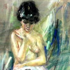 Arte: DESNUDO FEMENINO. DIBUJO. PASTEL SOBRE PAPEL. FIRMADO. ESPAÑA. CIRCA 1950. Lote 107212151