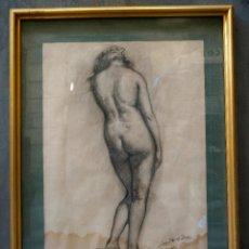 Arte: RAMON LAPORTA ASTORT, DESNUDO, DIBUJO AL CARBONCILLO. 70X54CM. Lote 107478891