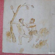 Arte: FAUNO PERSIGUIENDO A MUJER. ESCENA ERÓTICA. DIBUJO ERÓTICO ACUARELADO DEL S. XVIII. Lote 107521011