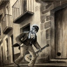 Arte: RICARDO OPISSO I SALA (TARRAGONA, 1880 - BCN, 1966) TÉCNICA MIXTA SOBRE PAPEL. MUSICO VAGABUNDO. Lote 107591183