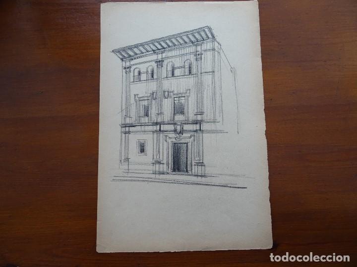 DIBUJO LÁPIZ ORIGINAL 35 X 28 APROX ARQUITECTURA (Arte - Dibujos - Contemporáneos siglo XX)