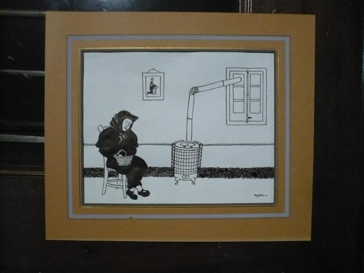 Arte: Dibujo a la pluma para ilustración de Apa, Feliu Elias. Original firmado sin marco - Foto 2 - 107781395