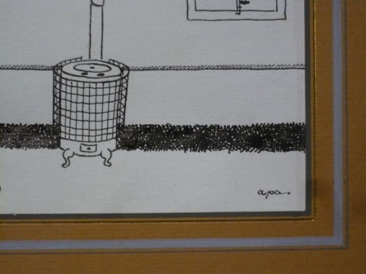 Arte: Dibujo a la pluma para ilustración de Apa, Feliu Elias. Original firmado sin marco - Foto 3 - 107781395