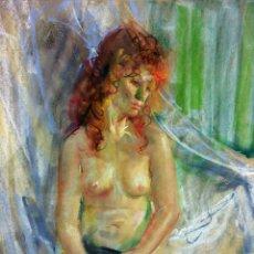 Arte: DESNUDO FEMENINO. DIBUJO. PASTEL SOBRE PAPEL. FIRMADO. ESPAÑA(?). 1981. Lote 107902268