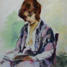 Arte: DAMA LEYENDO. DIBUJO. PASTEL SOBRE PAPEL. FIRMADO. ESPAÑA. 1983. Lote 107966791