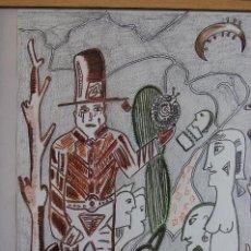 Arte: FJ CASTILLO. MÁLAGA 1961 DIBUJO TÉCNICA MIXTA DE 29,5 41,5 PAPEL ENMARCADO EN 39,5X49. OBRA ÚNICA.. Lote 107977147