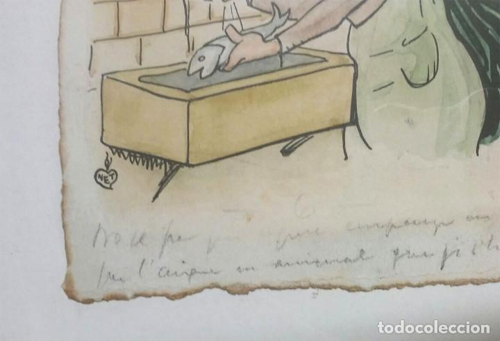 Arte: Dibujo tinta Gaieta Cornet i Palau 1878 1945, Leyenda a pie viñeta, escrita a mano por el autor - Foto 2 - 108011627