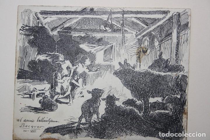 DIBUJO ORIGINAL CARLOS BECQUER- ILUSTRADOR (Arte - Dibujos - Contemporáneos siglo XX)