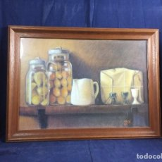 Art: BODEGON PASTEL PAPEL GRUESO GRANO BOTES VIDRIO FRUTAS HUEVERA JARRA VASOS FIRMADO J BAS 57 X 42 CM. Lote 108421627