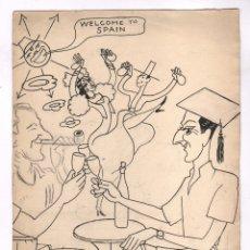 Arte: BON (ROMÀ BONET SINTES) DIBUJO TINTA SOBRE CARTULINA, 22,5X31,5 CM.. Lote 108486847