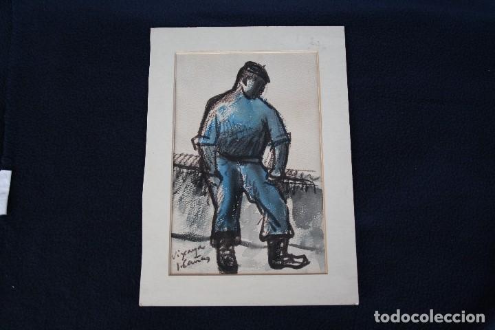 JOSEP CAÑAS, EXTRAORDINARIA OBRA , ACUARELA Y CARBONCILLO. PERCONAJE VASCO (Arte - Dibujos - Contemporáneos siglo XX)