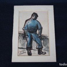 Arte: JOSEP CAÑAS, EXTRAORDINARIA OBRA , ACUARELA Y CARBONCILLO. PERCONAJE VASCO. Lote 108723091