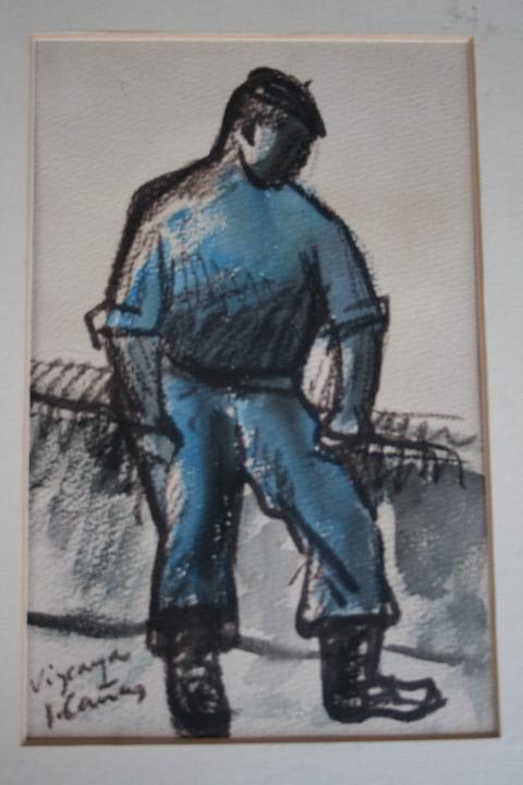 Arte: JOSEP CAÑAS, EXTRAORDINARIA OBRA , ACUARELA Y CARBONCILLO. PERCONAJE VASCO - Foto 2 - 108723091