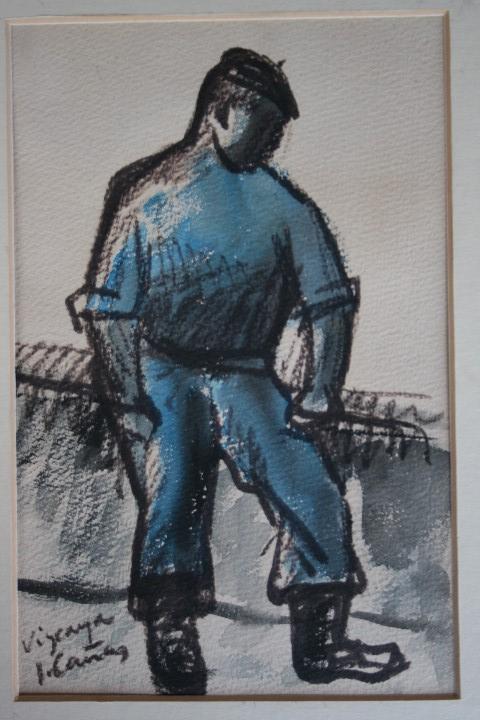 Arte: JOSEP CAÑAS, EXTRAORDINARIA OBRA , ACUARELA Y CARBONCILLO. PERCONAJE VASCO - Foto 5 - 108723091