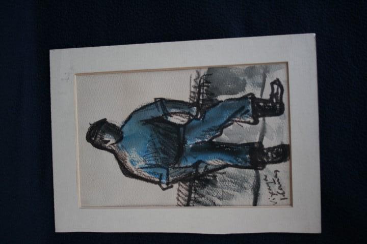 Arte: JOSEP CAÑAS, EXTRAORDINARIA OBRA , ACUARELA Y CARBONCILLO. PERCONAJE VASCO - Foto 6 - 108723091