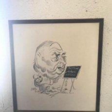 Arte: CARICATURA ORIGINAL A TINTA DE GARCÍA LORENTE A DOMINGO BALMANYA 1974.. Lote 108782071