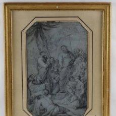 Arte: DIBUJO AL CARBONCILLO ESCENA BÍBLICA SIGLO XVIII. Lote 108821086