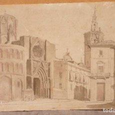 Arte: TOMÀS PADRÓ (1840-1877) DIBUJO DEL AÑO 1862, CATEDRAL DE VALENCIA. 27X17CM. Lote 108865631