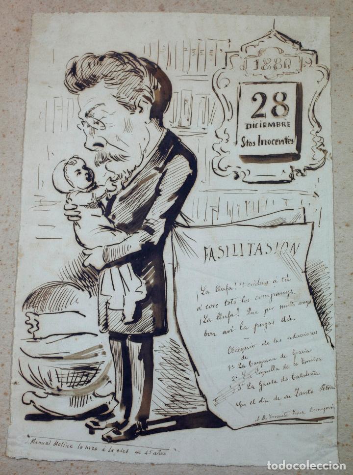 MANUEL MOLINÉ, DIBUJO SATÍRICO DEL AÑO 1880 PARA LA CAMPANA DE GRACIA / ESQUELLA TORRATXA. (Arte - Dibujos - Modernos siglo XIX)