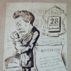Arte: MANUEL MOLINÉ, DIBUJO SATÍRICO DEL AÑO 1880 PARA LA CAMPANA DE GRACIA / ESQUELLA TORRATXA.. Lote 108865991