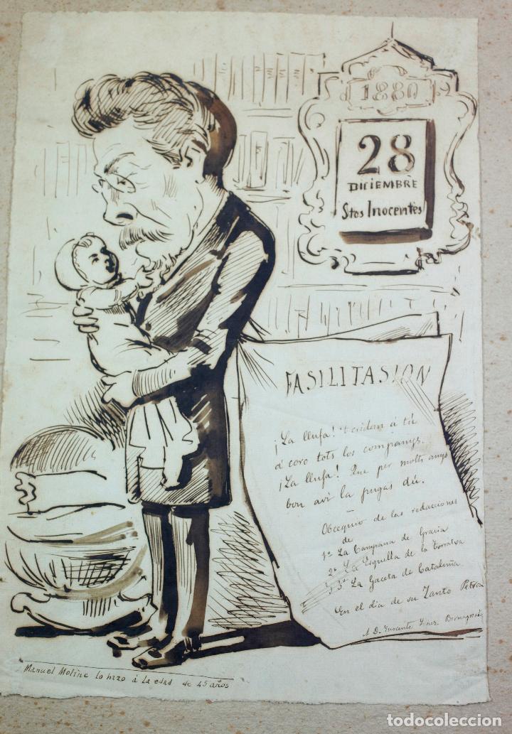 Arte: MANUEL MOLINÉ, DIBUJO SATÍRICO DEL AÑO 1880 PARA LA CAMPANA DE GRACIA / ESQUELLA TORRATXA. - Foto 2 - 108865991