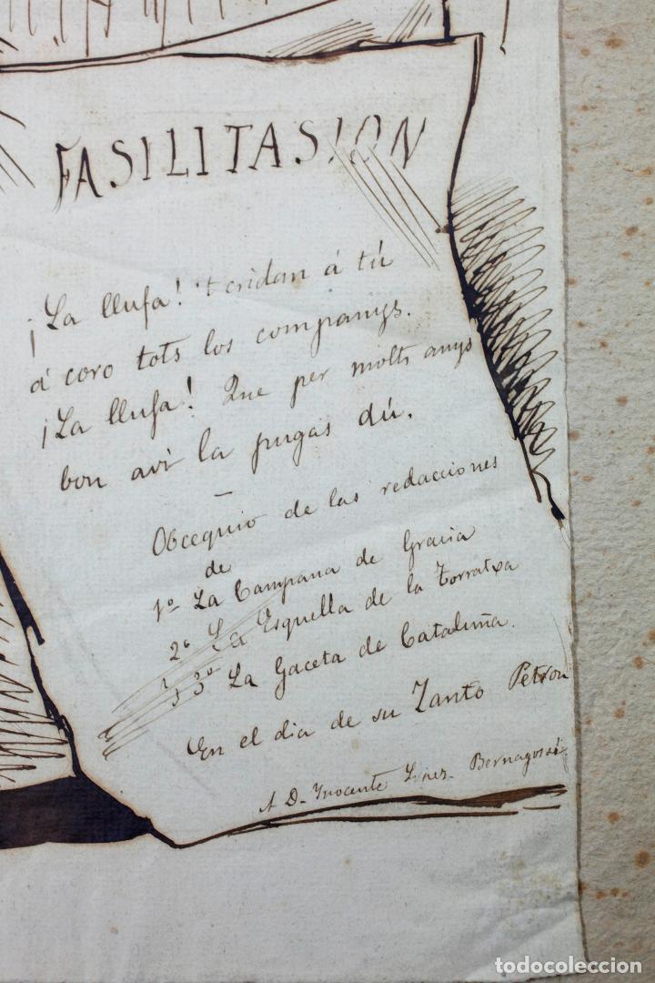 Arte: MANUEL MOLINÉ, DIBUJO SATÍRICO DEL AÑO 1880 PARA LA CAMPANA DE GRACIA / ESQUELLA TORRATXA. - Foto 4 - 108865991