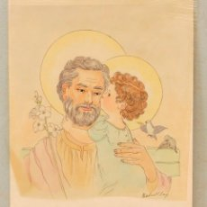 Arte: DIBUJO SAN JOSÉ Y NIÑO JESÚS, FIRMA ILEGIBLE. 23X25CM. Lote 108866135