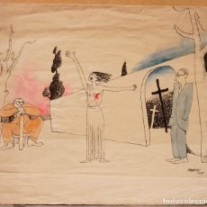 Arte: JOAN CORTÉS VIDAL (1898-1969), DIBUJO, 1935, FIRMADO CON EL PSEUDÓNIMO MOSCA. 24,5X22CM. Lote 108868995