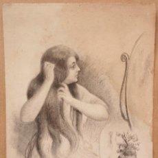 Arte: DIBUJO MUJER PEINÁNDOSE, 1918, FIRMA ILEGIBLE. 18,5X26,5CM. Lote 108872691