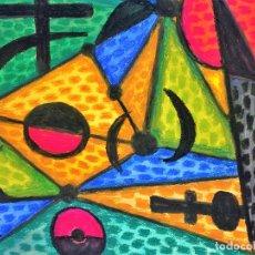 Arte: COMPOSICIÓN ABSTRACTA. DIBUJO. CERA SOBRE PAPEL. FIRMADO. ESPAÑA. XX. Lote 109005339