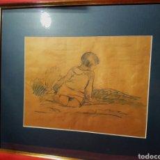 Arte: JUAN BAUTISTA PORCAR RIPOLLÉS (CASTELLÓN,1889 -1970) NIÑA LÁPIZ GRASO SOBRE PAPEL, 22 X 29'5. Lote 109055062