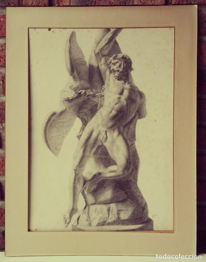 DIBUJO ESCULTURA CLÁSICA. PINTADO AL CARBONCILLO. SIGLO XIX. FRANCIA (Arte - Dibujos - Modernos siglo XIX)