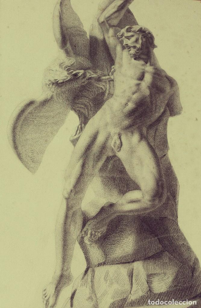 Arte: Dibujo Escultura Clásica. Pintado al Carboncillo. Siglo XIX. Francia - Foto 2 - 109075903