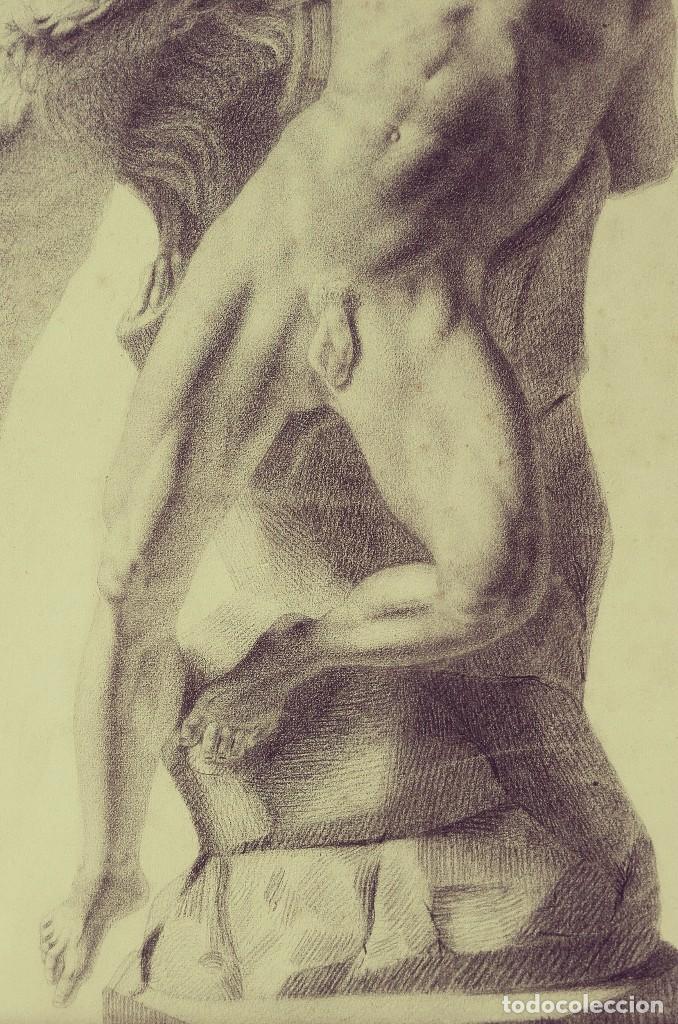 Arte: Dibujo Escultura Clásica. Pintado al Carboncillo. Siglo XIX. Francia - Foto 6 - 109075903