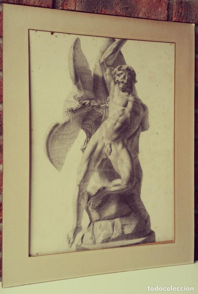 Arte: Dibujo Escultura Clásica. Pintado al Carboncillo. Siglo XIX. Francia - Foto 9 - 109075903