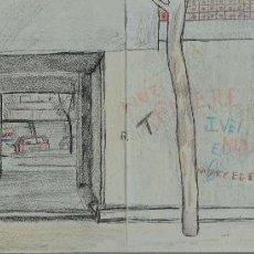 Arte: PHILIP STANTON (COLUMBUS, ESTADOS UNIDOS 1962) DIBUJO A LAS CERAS VISTA CALLE FIRMADO. Lote 109099487