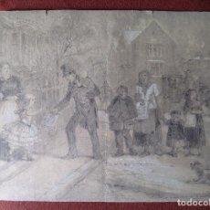 Arte: ESCUELA NORTEAMERICANA S.XIX. VENDIENDO EL PERIÓDICO.. Lote 109136427