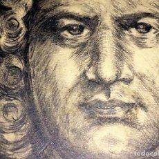 Arte: RETRATO DE CABALLERO (J.S. BACH?). GRAFITO SOBRE PAPEL. FIRMADO ROIG. ESPAÑA. XIX-XX. Lote 109353371