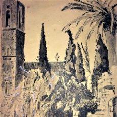 Arte: MONASTERIO DE PEDRALBES. TINTA SOBRE PAPEL. BUSSOT VILA(?). ESPAÑA. 1956. Lote 109462479