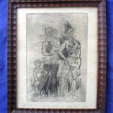 Arte: DIBUJO A LÁPIZ FAMILIA D'ARLEQUIN. 1957. FIRMA JEAN MARIE LOUIS.. Lote 109726703
