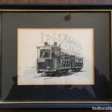 Arte: GUILLEM LATORRE , BONITO DIBUJO A LAPIZ TRANVIA. Lote 109805199